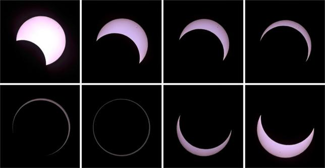 A combination of pictures shows the beginning to the end (top L to bottom R) of an annular solar eclipse seen from a beach of the French Indian Ocean island of La Reunion, September 1, 2016.  REUTERS/Gilles Adt