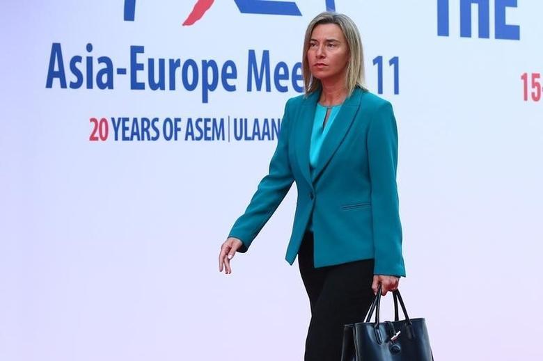 EU High Representative for Foreign Affairs and Security Policy Federica Mogherini arrives for the 11th Asia-Europe Meeting (ASEM) Summit of Heads of State and Government (ASEM11) in Ulan Bator, Mongolia, 15 July 2016. REUTERS/Wu Hong/Pool