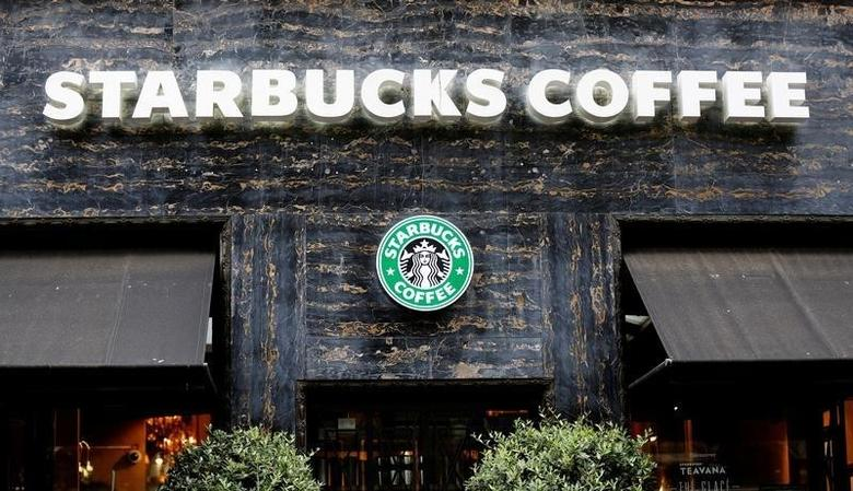 Starbucks cafe logo is pictured in Paris, France, August 4, 2016. REUTERS/Jacky Naegelen