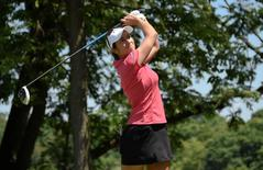 Jul 11, 2015; Lancaster, PA, USA; Marina Alex tees off the second hole during the third round of the 2015 U.S. Women's Open at Lancaster Country Club. Mandatory Credit: Kyle Terada-USA TODAY Sports
