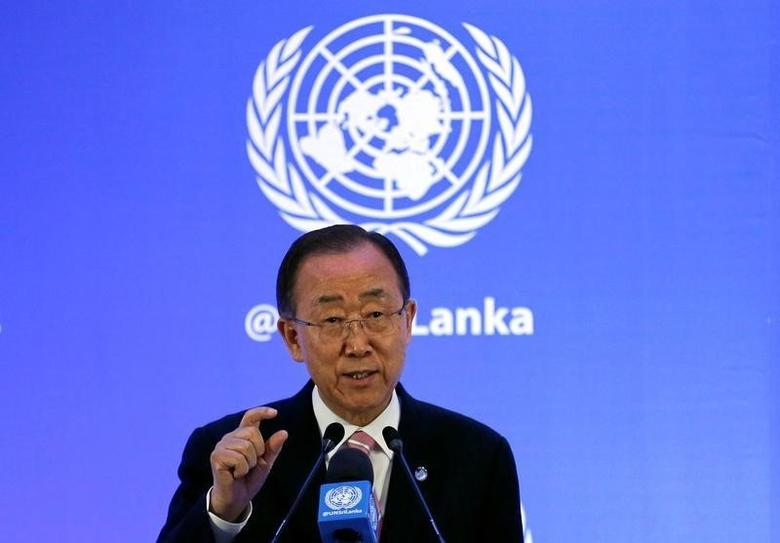 U.N. Secretary-General Ban Ki-moon speaks at a news conference during an official visit in Colombo, Sri Lanka, September 2, 2016. REUTERS/Dinuka Liyanawatte