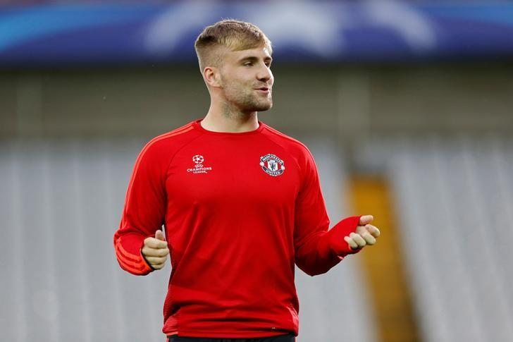 Football - Manchester United Training - Jan Breydel Stadium, Bruges, Belgium - 25/8/15Manchester United's Luke Shaw during training.   Action Images via Reuters / Carl Recine/File Photo Livepic