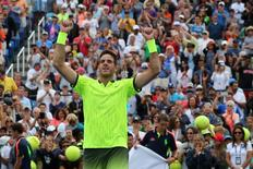 Sep 3, 2016; New York, NY, USA; Juan Martin del Potro of Argentina celebrates the win against David Ferrer of Spain on day six of the 2016 U.S. Open tennis tournament at USTA Billie Jean King National Tennis Center. Mandatory Credit: Anthony Gruppuso-USA TODAY Sports