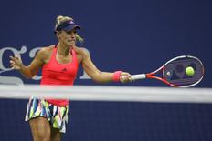 Sep 4, 2016; New York, NY, USA; Angelique Kerber of Germany hits a forehand against Petra Kvitova of the Czech Republic (not pictured) on day seven of the 2016 U.S. Open tennis tournament at USTA Billie Jean King National Tennis Center. Mandatory Credit: Geoff Burke-USA TODAY Sports