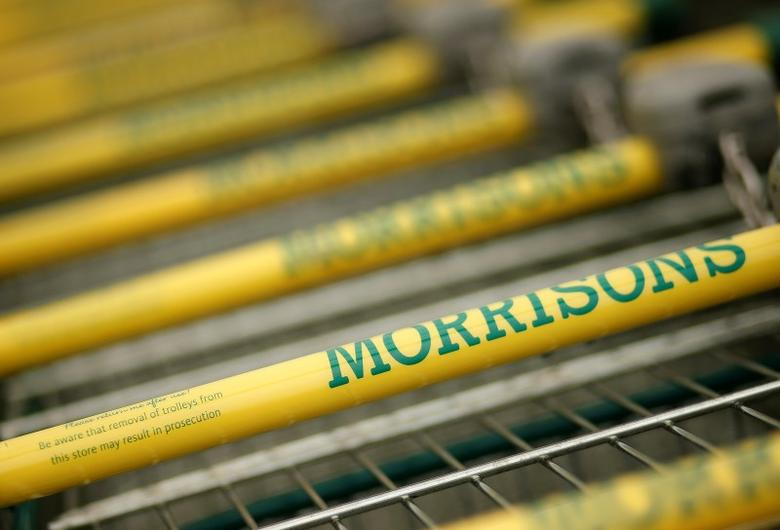 Shopping trolleys stand outside a Morrisons supermarket in Liverpool, northern England March 12, 2015. REUTERS/Phil Noble