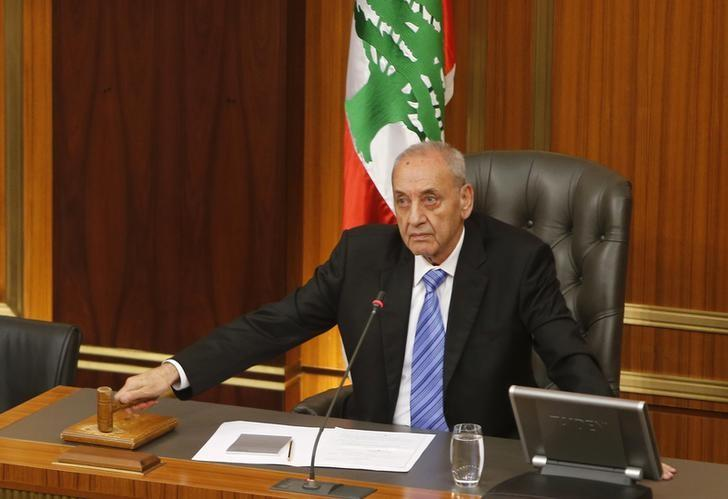 Lebanese Parliament speaker Nabih Berri strikes his gavel at the end of a parliamentary session in parliament in Beirut, May 31, 2013. REUTERS/Mohamed Azakir/Files