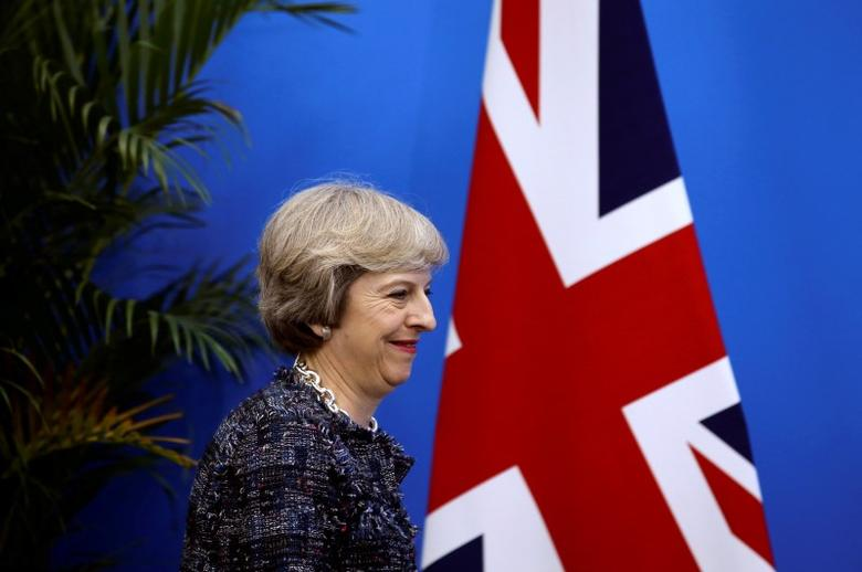 British Prime Minister Theresa May arrives at a news conference after the closing of G20 Summit in Hangzhou, Zhejiang Province, China, September 5, 2016. REUTERS/Damir Sagolj