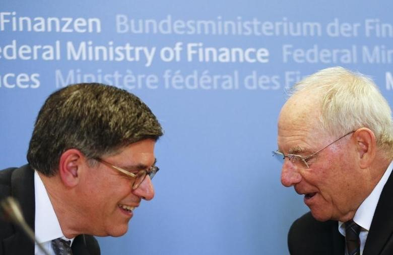 U.S. Treasury Secretary Jack Lew and German Finance Minister Wolfgang Schaeuble attend a news conference at the Finance Ministry in Berlin, Germany, July 14, 2016. REUTERS/Hannibal Hanschke