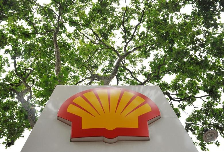 A logo of Royal Dutch Shell Plc is seen under a canopy of trees at a Shell petrol station in central London July 29, 2010. REUTERS/Toby Melville