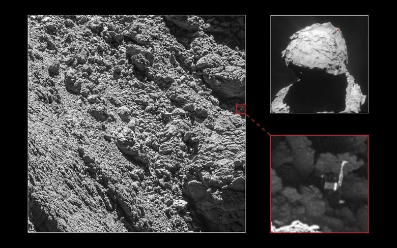 High-resolution cameras on Europe's Rosetta spacecraft have found space probe Philae, which successfully landed on a comet in a pinpoint operation only to lose power because its solar-driven batteries were in the shade.  ESA/Rosetta/MPS for OSIRIS Team Handout via Reuters