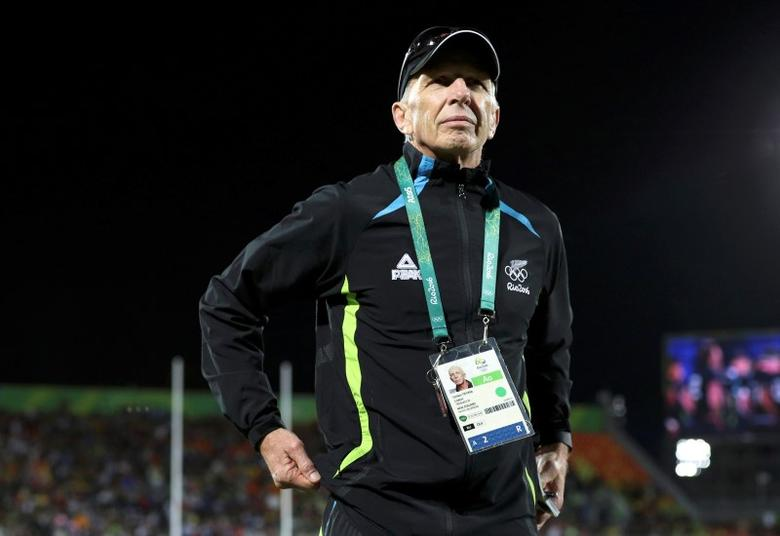 2016 Rio Olympics - Rugby -  Men's Victory Ceremony  - Deodoro Stadium - Rio de Janeiro, Brazil - 11/08/2016. New Zealand's head coach Gordon Tietjens attends the medal ceremony. REUTERS/Phil Noble