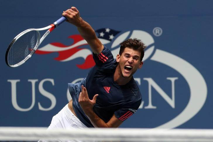 Sep 5, 2016; New York, NY, USA; Dominic Thiem of Austria serves against Juan Martin Del Potro of Argentina (not pictured) on day eight of the 2016 U.S. Open tennis tournament at USTA Billie Jean King National Tennis Center. Del Potro won 6-3, 3-2 (ret.). Mandatory Credit: Geoff Burke-USA TODAY Sports