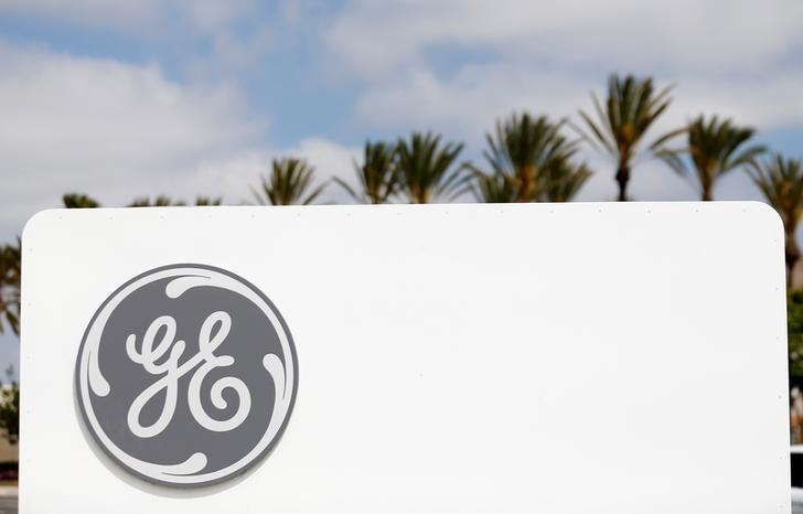 The logo of Down Jones Industrial Average stock market index listed company General Electric is shown at their subsidiary company GE Aviation in Santa Ana, California April 13, 2016.  REUTERS/Mike Blake/Files