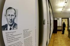 "A portrait of Reinhard Heydrich, the Reichsprotektor of Bohemia and Moravia, is displayed as part of the exhibition at ""The House of the Wannsee Conference"" in Berlin, Germany January 19, 2006.  REUTERS/Arnd Wiegmann/File Photo"