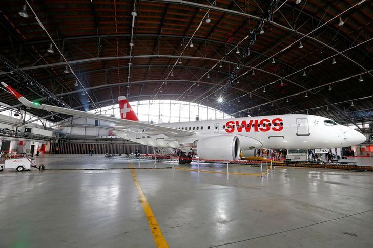 Lufthansa unit Swiss International Air Lines new Bombardier CS100 aircraft is seen in a hangar during a media presentation at Zurich airport, Switzerland July 6, 2016. REUTERS/Arnd Wiegmann