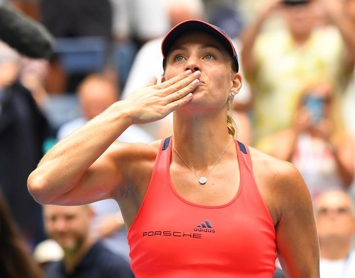 Sept 6, 2016; New York, NY, USA;  Angelique Kerber of Germany after beating Roberta Vinci of Italy on day nine of the 2016 U.S. Open tennis tournament at USTA Billie Jean King National Tennis Center. Mandatory Credit: Robert Deutsch-USA TODAY Sports