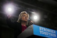 Candidata democrata à Presidência dos Estados Unidos, Hillary Clinton, discursa em evento de campanha em Tampa, na Flórida 06/09/2016 REUTERS/Brian Snyder