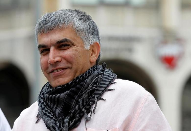 Bahraini human rights activist Nabeel Rajab arrives for his appeal hearing at court in Manama, February 11, 2015. REUTERS/Hamad Mohammed/File Photo