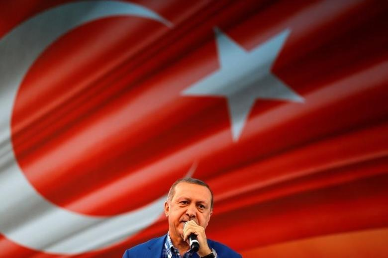 Turkey's President Tayyip Erdogan speaks during the United Solidarity and Brotherhood rally in Gaziantep, Turkey, August 28, 2016. REUTERS/Umit Bektas