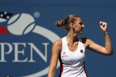 Sep 7, 2016; New York, NY, USA; Karolina Pliskova of the Czech Republic celebrates after winning match point against Ana Konjuh of Croatia (not pictured) on day ten of the 2016 U.S. Open tennis tournament at USTA Billie Jean King National Tennis Center. Pliskova won 6-2, 6-2. Mandatory Credit: Geoff Burke-USA TODAY Sports