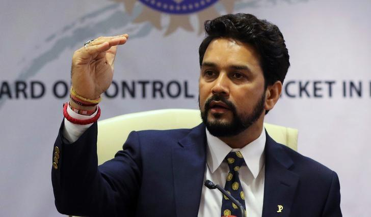 Anurag Thakur, newly-elected president of Board of Control for Cricket in India (BCCI), gestures during a news conference in Mumbai, India, May 22, 2016. REUTERS/Shailesh Andrade