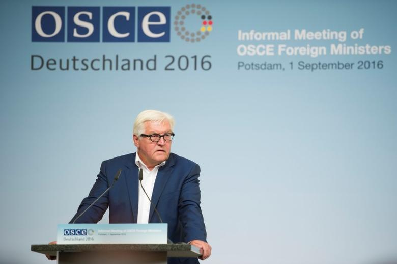 German Foreign Minister Frank-Walter Steinmeier speaks during the informal OSCE Foreign Minister's meeting in Potsdam, Germany, September 1, 2016. REUTERS/Stefanie Loos