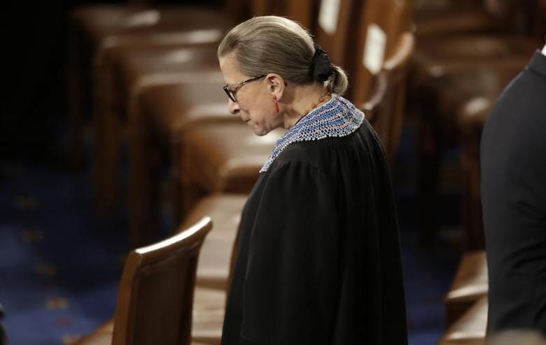 U.S. Supreme Court Associate Justice Ruth Bader Ginsburg arrives to watch U.S. President Barack Obama's State of the Union address to a joint session of the U.S. Congress on Capitol Hill in Washington, January 20, 2015. Picture TAKEN January 20, 2015. REUTERS/Joshua Roberts/File Photo