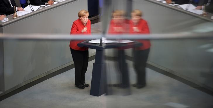 German Chancellor Angela Merkel speaks during a meeting at the lower house of parliament Bundestag on 2017 budget in Berlin, Germany, September 7, 2016. REUTERS/Stefanie Loos
