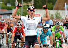 Winner of the first Stage of Tour of Denmark, Magnus Cort Nielsen of Cult Energy crosses the finish line in Mariager August 6, 2014.   REUTERS/Henning Bagger/Scanpix
