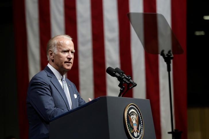 U.S. Vice President Joe Biden delivers a speech in Riga, Latvia, August 23, 2016. REUTERS/Ints Kalnins