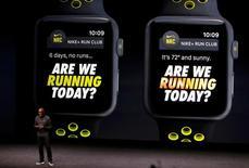 Trevor Edwards, presidente da Nike Brand, fala sobre o Apple Watch com Nike+ durante evento para a imprensa em San Francisco, na California. 7/09/2016.  REUTERS/Beck Diefenbach