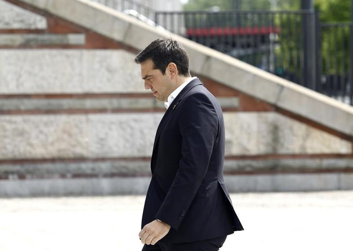 Greek Prime Minister Alexis Tsipras arrives at the PGE National Stadium, the venue of the NATO Summit, in Warsaw, Poland July 8, 2016. REUTERS/Jerzy Dudek