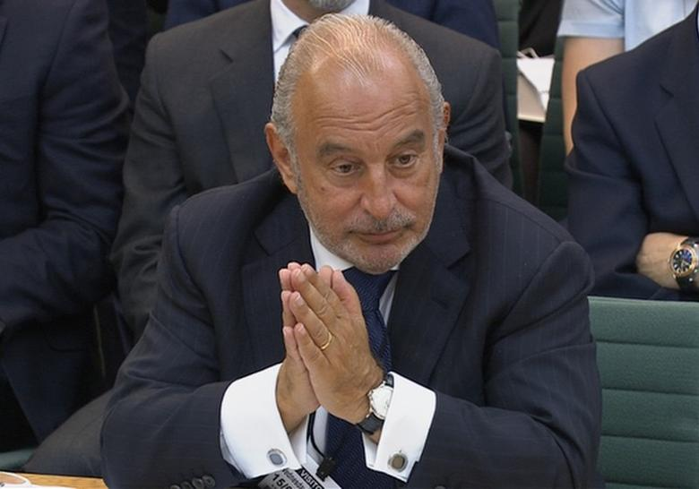 Retailer Philip Green speaks before Parliament's business select committee on the collapse of British Home Stores which he used to own, in London, Britain June 15, 2016. Parliament TV/Handout via REUTERS