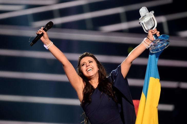 Ukraine's Jamala reacts on winning the Eurovision Song Contest final at the Ericsson Globe Arena in Stockholm, Sweden, May 14, 2016. TT News Agency/Maja Suslin/via REUTERS/Files