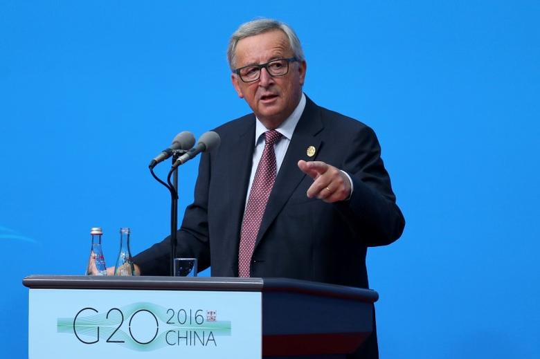 European Commission President Jean-Claude Juncker speaks during a press conference  in Hangzhou, Zhejiang province, China, September 4, 2016. China Daily/via REUTERS