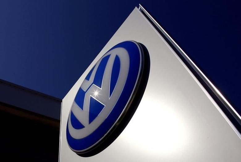 A Volkswagen logo adorns a sign outside a dealership for the German automaker located in the Sydney suburb of Artarmon, Australia, October 3, 2015.   REUTERS/David Gray/File Photo