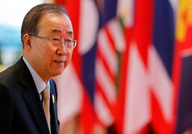 United Nations Secretary General Ban Ki-moon arrives to attend ASEAN Summit in Vientiane, Laos September 8, 2016. REUTERS/Soe Zeya Tun