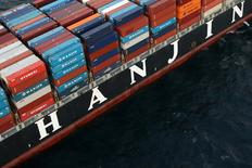 Hyundai shipping containers are seen on a Hanjin Shipping Co ship which stranded outside the Port of Long Beach, California, September 8, 2016. REUTERS/Lucy Nicholson