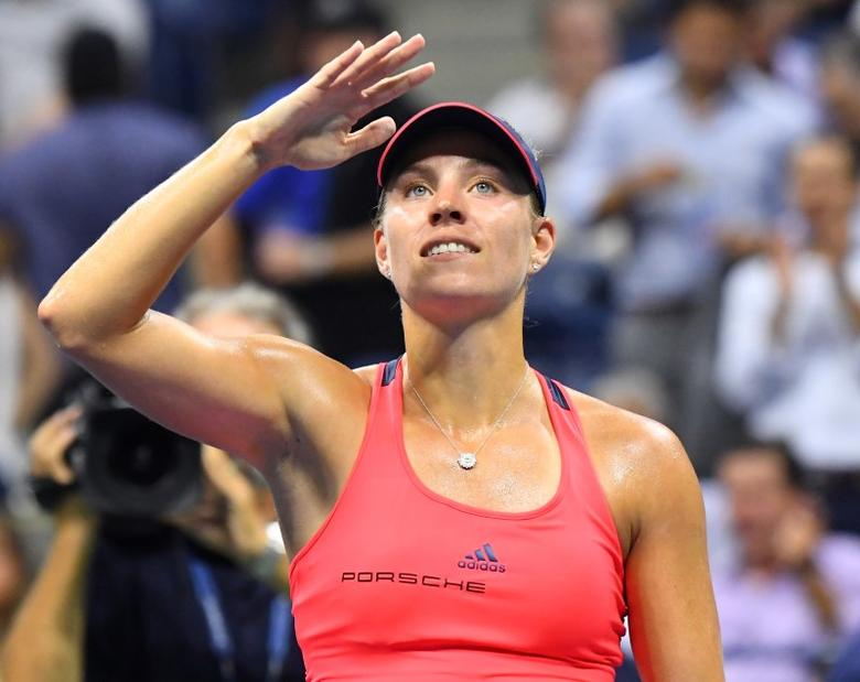 Sept 8, 2016; New York, NY, USA; Angelique Kerber of Germany reacts after beating Caroline Wozniacki of Denmark on day eleven of the 2016 U.S. Open tennis tournament at USTA Billie Jean King National Tennis Center. Mandatory Credit: Robert Deutsch-USA TODAY Sports