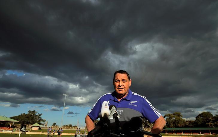 The New Zealand All Blacks rugby team coach Steve Hansen speaks to the press under cloudy skies during a team training session in Sydney, Australia, August 19, 2016, before their first Bledisloe Cup game against Australia's Wallabies on Saturday. REUTERS/Jason Reed