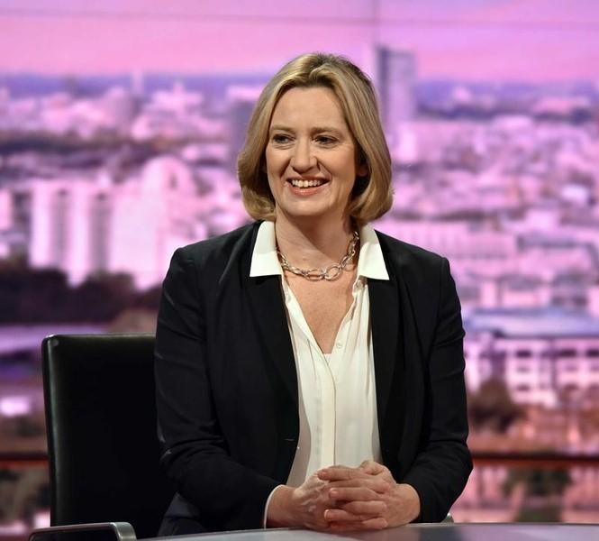 Britain's Home Secretary Amber Rudd is seen speaking on the BBC's Andrew Marr Show in this photograph received via the BBC in London, Britain September 11, 2016. Jeff Overs/BBC/Handout via REUTERS