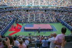 Sep 11, 2016; New York, NY, USA; General view of the playing of the national anthem at Arthur Ashe stadium before the match between Novak Djokovic of Serbia and Stan Wawrinka of Switzerland in the championship match on day fourteen of the 2016 U.S. Open tennis tournament at USTA Billie Jean King National Tennis Center. Mandatory Credit: Anthony Gruppuso-USA TODAY Sports