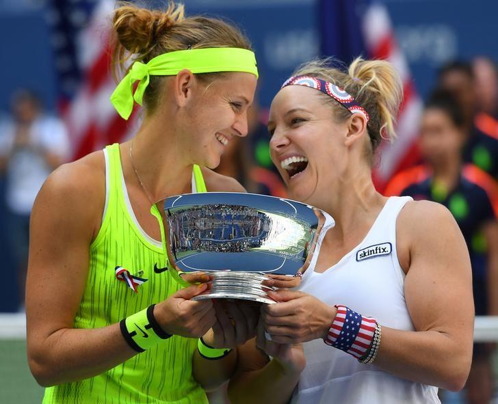 Sept 11, 2016; New York, NY, USA; Bethanie Mattek-Sands (R) of the USA and Lucie Safarova of the Czech Republic (L) celebrate after beating Caroline Garcia (not pictured) and Kristina Mladenovic of France (not pictured) in the women's doubles final on day fourteen of the 2016 U.S. Open tennis tournament at USTA Billie Jean King National Tennis Center. Mandatory Credit: Robert Deutsch-USA TODAY Sports