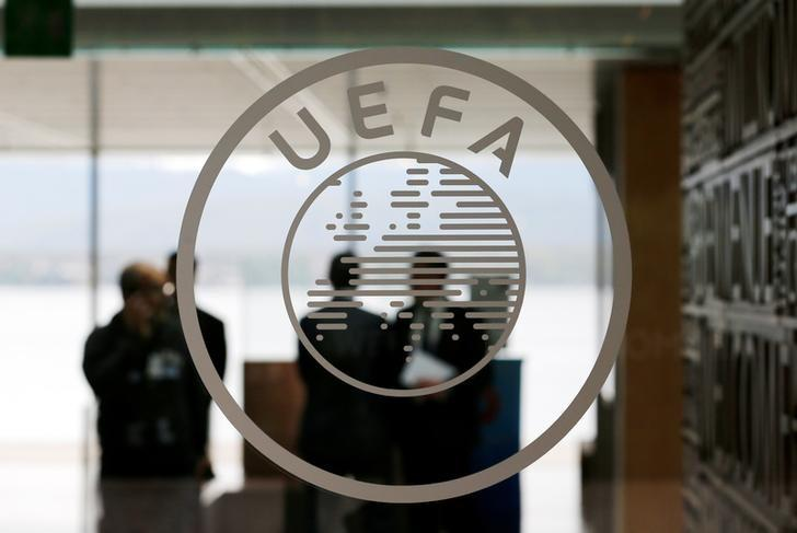 A logo is pictured on UEFA headquarters in Nyon, Switzerland, April 15, 2016.  REUTERS/Denis Balibouse/Files