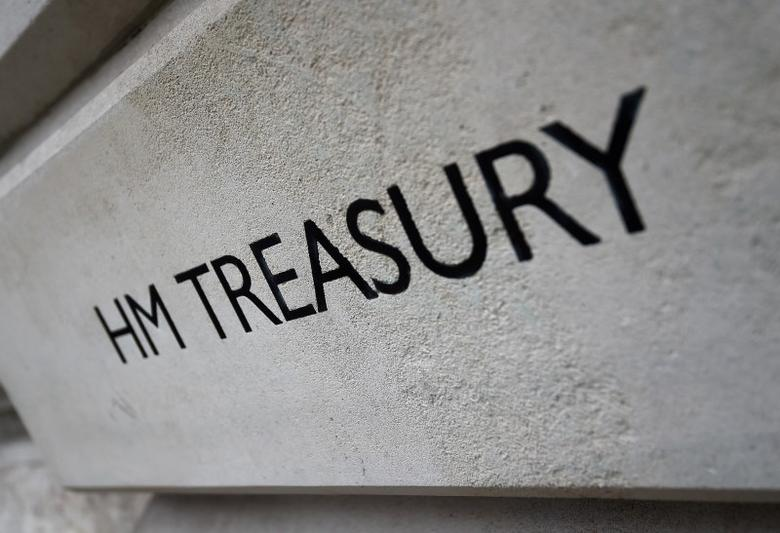 The HM Treasury name is seen painted on the outside of Britain's Treasury building in central London, Britain March 15, 2016.  REUTERS/Toby Melville