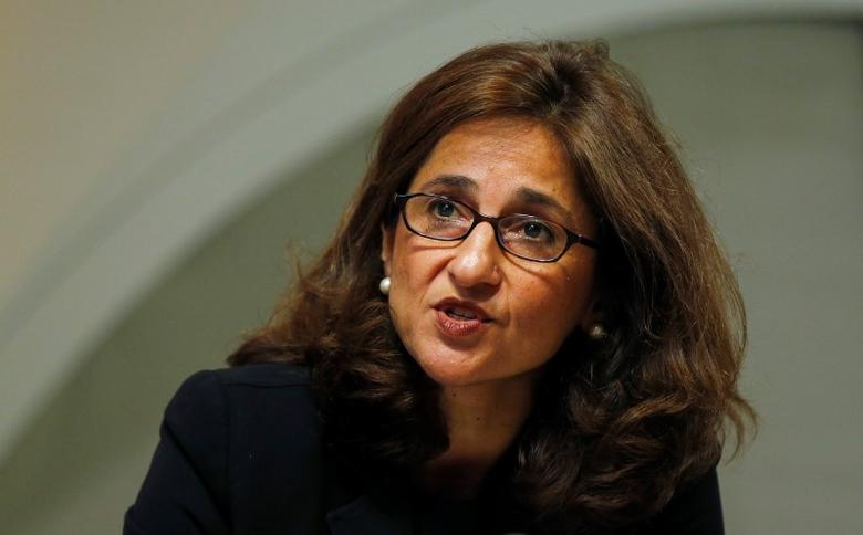 Bank of England Deputy Governor Minouche Shafik speaks during the bank's quarterly inflation report news conference at the Bank of England in London August 13, 2014. REUTERS/Suzanne Plunkett