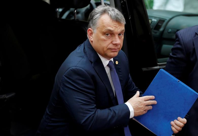 Hungary's Prime Minister Viktor Orban arrives on the second day of the EU Summit in Brussels, Belgium, June 29, 2016.   REUTERS/Francois Lenoir/File photo