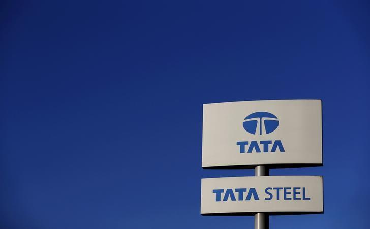 A company logo is seen outside the Tata steelworks near Rotherham in Britain, in this March 30, 2016 file photo.    REUTERS/Phil Noble/Files