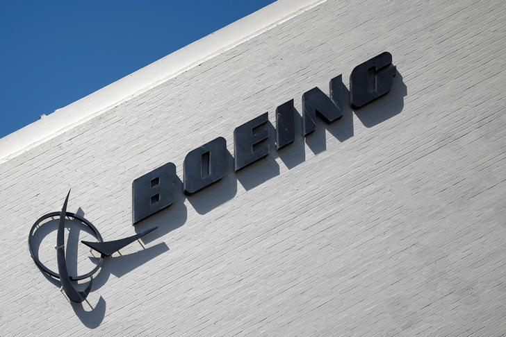 The logo of Dow Jones Industrial Average stock market index listed company Boeing (BA) is seen in Los Angeles, California, United States, April 22, 2016. REUTERS/Lucy Nicholson/File Photo