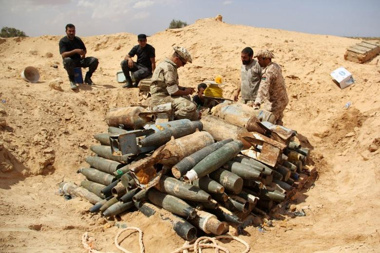 Libyan forces prepare to detonate and dispose of explosives and shells left behind by Islamic State militants in Sirte following a battle, in Misrata Libya, September 9, 2016. REUTERS/Stringer